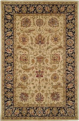 Kalaty Empire EM-286 Hand Tufted Area Rug, 3-Feet 6-Inch by 5-Feet 6-Inch, Ivory/Black