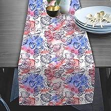 RADANYA Sea Shell Printed Table Runner Taffeta Silk Fabric Decor for Wedding Home Kitchen Birthday Party 14''x72''