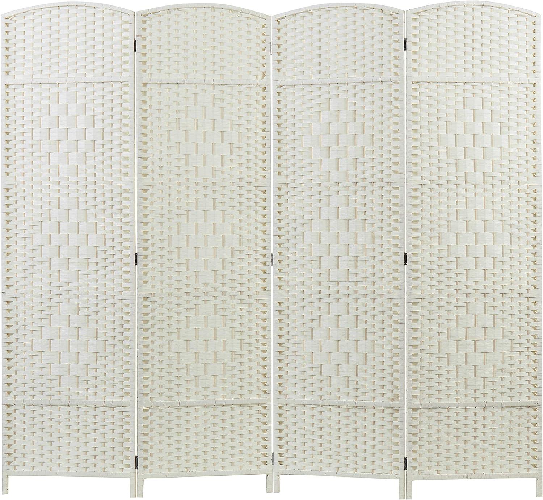 MyGift 4-Panel Milwaukee Mall Dual-Hinged Freestanding cheap Woven White Di Wood Room