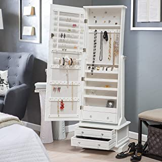 Home Collection Traditional Freestanding Classic White Wood Jewelry Armoire Tall Cabinet Storage Jewelry Box with Cheval Mirror and Swivel