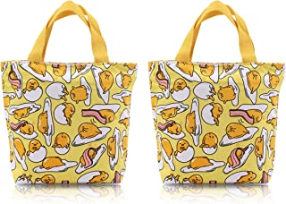 Finex - Set of 2 - Gudetama Lazy Egg Yolk Canvas Zippered Tote with Top Carry Handles Bag - Gym Makeup Diaper Reusable Grocery Lunch