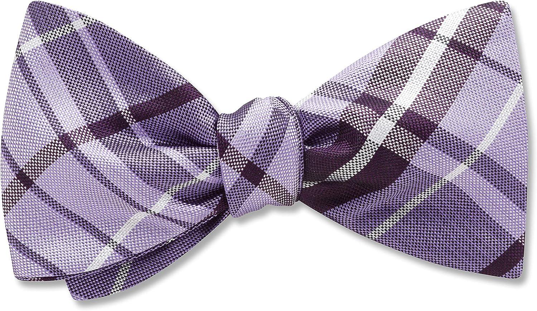 Mansfield Lapis Purple,Blue Plaid, Men's Bow Tie, Handmade in the USA