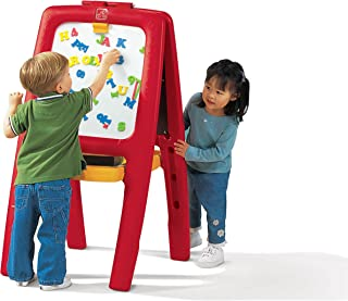 Step2 Easel for Two | Kids Double-Sided Art Easel with Magnetic Letters & Numbers | 94-Pc Accessory Set Included, Red, 42-...