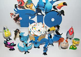 Play Time Rio Movies Deluxe Figure Set of 12 Toy Kit Featuring Jewel, Blu, The Children, Nigel and Both Old and New Friends!