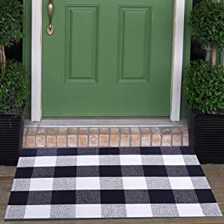 "Cotton Buffalo Check Rugs Front Porch Rug Doormat 2' x 3' Plaid Rug Outdoor Buffalo Checkered Throw Rug Black and White Farmhouse Checkered Door Mat Washable Woven Mat (23.6""x35.4"", Checkered Black)"