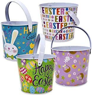 """4 Pack Tin Metal Easter Pail Buckets 4.75"""" In 4 Assorted Designs Round Baskets Small Pails with Handles For Easter Egg Hunt Stuffers Kids Party Favors Supplies Candy Centerpieces by Gift Boutique"""