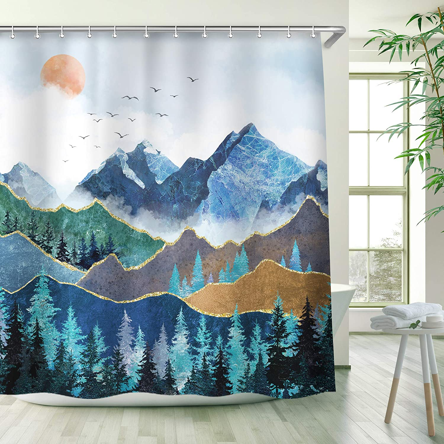 RosieLily Mountain Shower Curtain, Nature Shower Curtains Set with 12 Hooks, Waterproof Forest Shower Curtain, Decor Blue Japanese Mountain Forest Shower Curtain, 72x72 inch