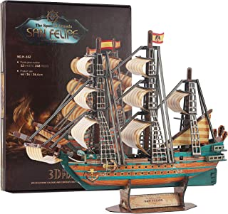 Jigsaw Puzzles Nautical 3D Puzzle Series Pirate Ship Toy The San Felipe Vessel Replica Toy Assemmbly Boat Model Decoration Craft Gift Sailboat Model Kit Puzzle 248 Pieces