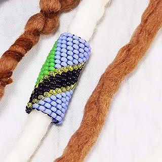 Handmade Tanzanian flag dread beads for deadlock jewelry hair braid cuff Rastafarian accessory