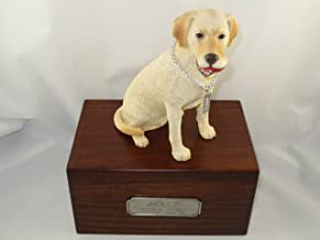 Beautiful Paulownia Medium Wooden Urn with Yellow Labrador Lab Retriever