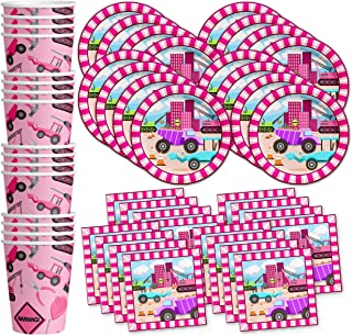 Girl Pink Construction Trucks Birthday Party Supplies Set Plates Napkins Cups Tableware Kit for 16