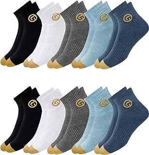 GLINTO Men's Premium Cushioned Cotton Athletic Quarter Socks, (Pack of 5 or 10, Shoe Size: 7-12)