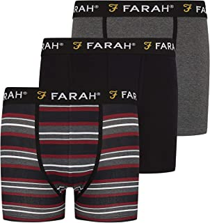 Farah Mens Boxers Shorts (3 Pack) Multipacked Underwear Gift Set, Mens Boxers Trunk