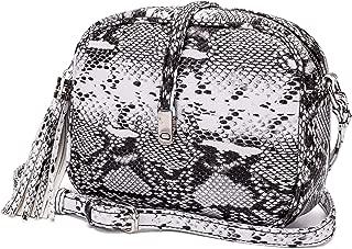 Snake Print Crossboby Bag, Python Embossed Small Shoulder Purse.