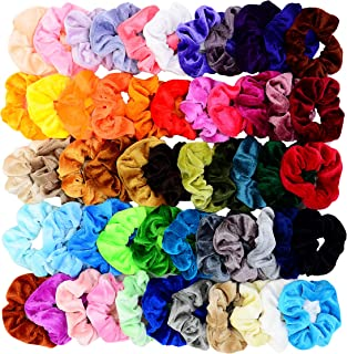 Chloven 55 Pcs Premium Velvet Hair Scrunchies Elastics Bobbles Hair Bands Scrunchy Hair Ties Ropes Scrunchie for Women Girls Hair Accessories