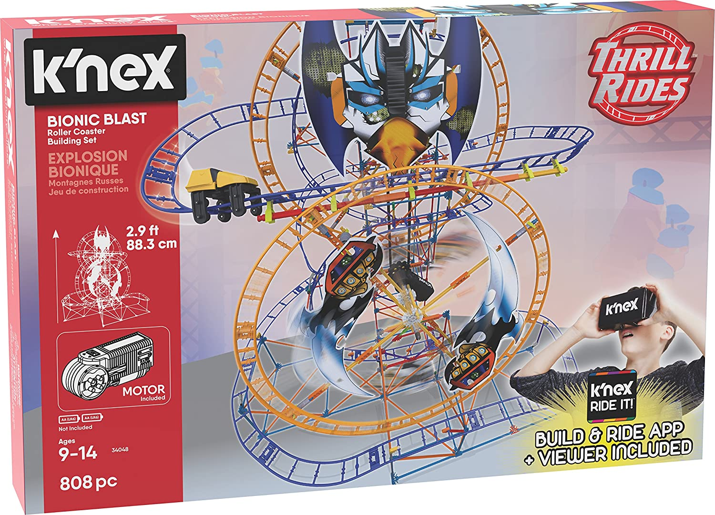 Amazon Com K Nex Thrill Rides Bionic Blast Roller Coaster Building Set With Ride It App 809piece Ages 9 Building Set Toys Games