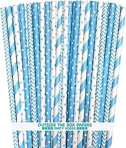 Outside the Box Papers Light Blue Stripe, Polka Dot Chevron Paper Straws 7.75 Inches 100 Pack Light Blue, White
