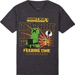 MINECRAFT Maglietta Bambino, T Shirt in Cotone per Ragazzo da 4 A 15 Anni, Gaming Merchandise per Giocatori