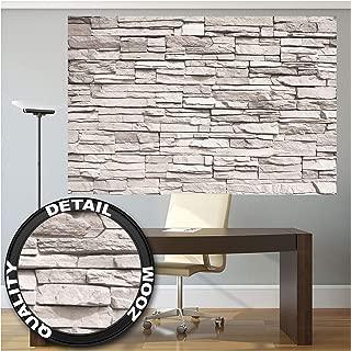 Foto mural White Stonewall – Tapiz de piedra 3D Piedra Muro Decoración de pared Óptica de piedras blancas Pared de piedras Muro de piedras I foto póster deco pared by GREAT ART (210x140 cm)