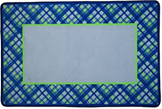 Delta Children Soft Kids Area Rug for Boys, (2.5 Foot X 4 Foot), Plaid/Blue & Green