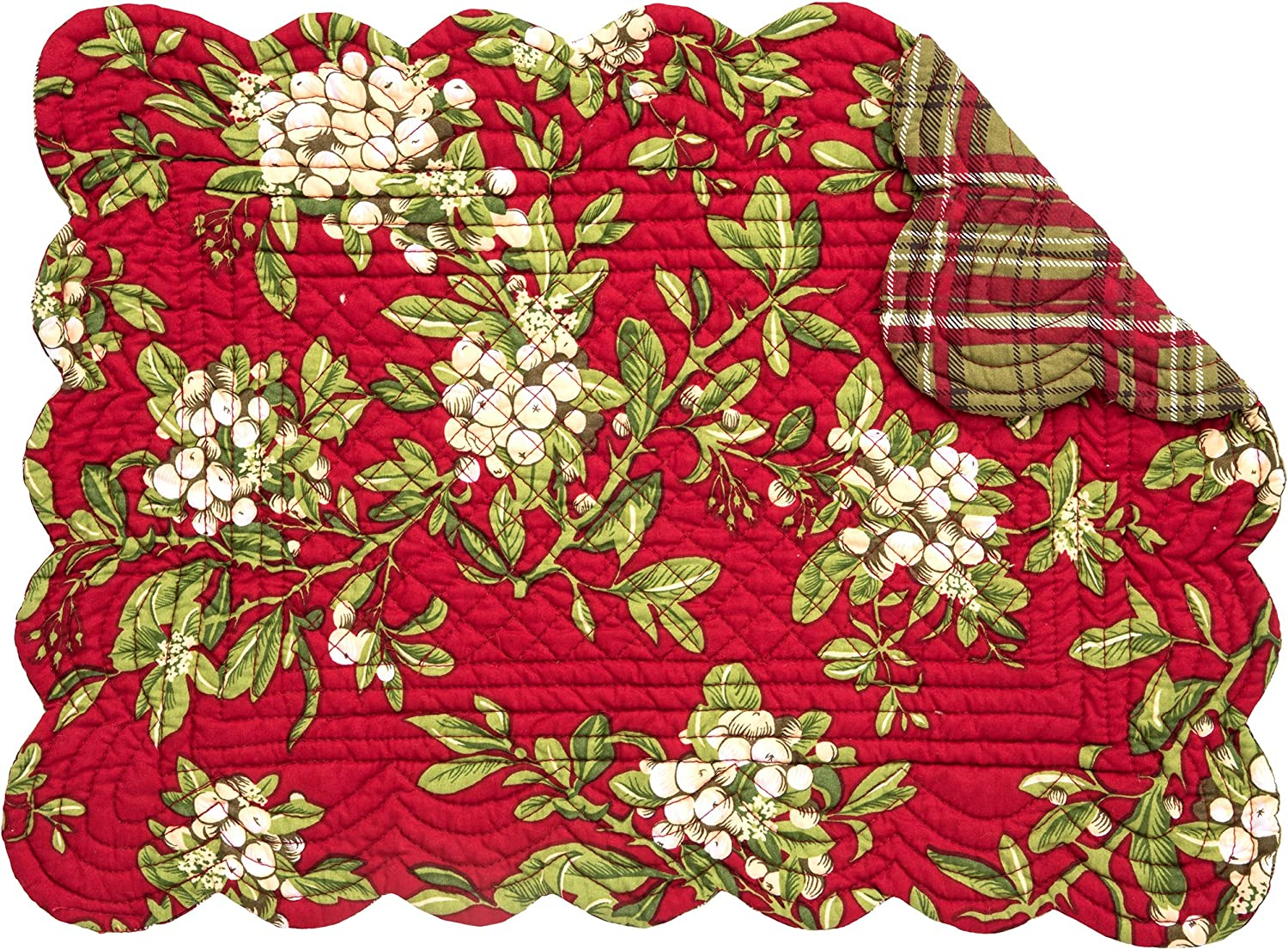C&F Home Mistletoe Leaves Red Christmas Holiday Quilted Single Rectangular Cotton Quilted Placemat Rectangular Placemat Red