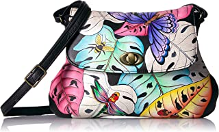 Anna by Anuschka Handpainted Leather Medium Flap Cross Body-Lovely Leaves