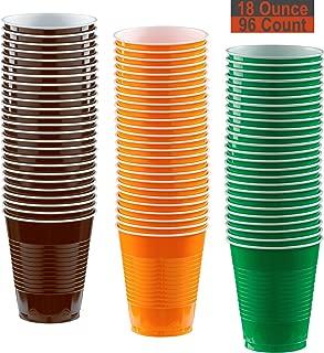 18 oz Party Cups, 96 Count - Brown, Pumpkin Orange, Festive Green - 32 Each Color