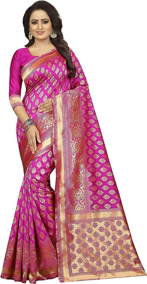 Indian SATYAM WEAVES Women's Banarasi Cotton Silk Saree Saree
