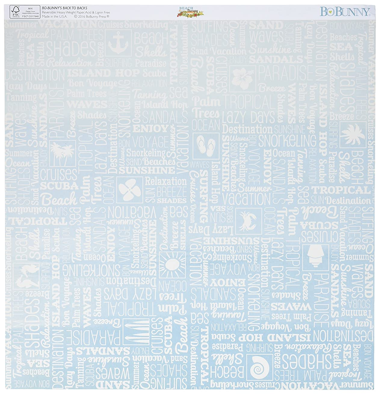 Bo Bunny 19301307 Beach Therapy Double-Sided Cardstock (25 Sheets Per Pack), 12