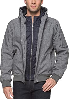 Tommy Hilfiger Men's Big Soft Shell Fashion Bomber with Contrast Bib and Hood