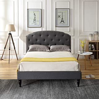 Classic Brands DeCoro Cranleigh Upholstered Platform Bed | Headboard and Metal Frame with Wood Slat Support | Grey, Queen
