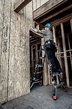 Little Giant Ladders, Dark Horse, M13, 7-11 foot, Multi-Position Ladder, Fiberglass, Type 1AA, 375 lbs weight rating, (15143-