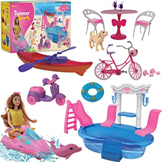 Beverly Hills Doll Furniture Playset - Pool and Sports Beach Set with Swimming Pool, Swim Accessories, fits Barbie Dolls a...