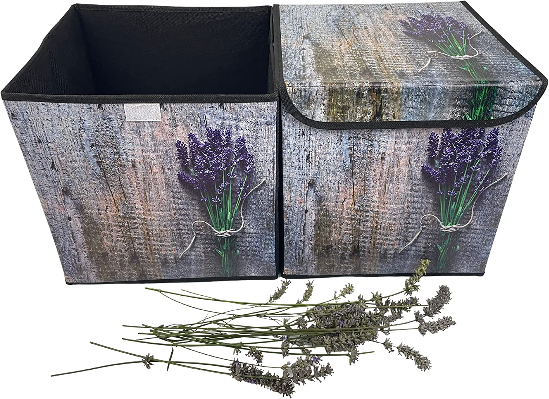Cajas Organizadoras con Tapa - Cubo Plegable Camping - 31 x 31 x 31 cm (Lavanda)
