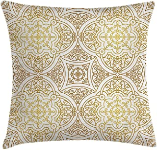 Gold Mandala Throw Pillow Cushion Cover Victorian Mandala Motifs Curled Classical Ethnic Oriental Tile Outline Decorative Square Accent Pillow Case 18 X 18 Inches