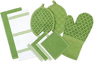 Sticky Toffee Silicone Printed Oven Mitt & Pot Holder, Cotton Terry Kitchen Dish Towel & Dishcloth, Green, 9 Piece Set