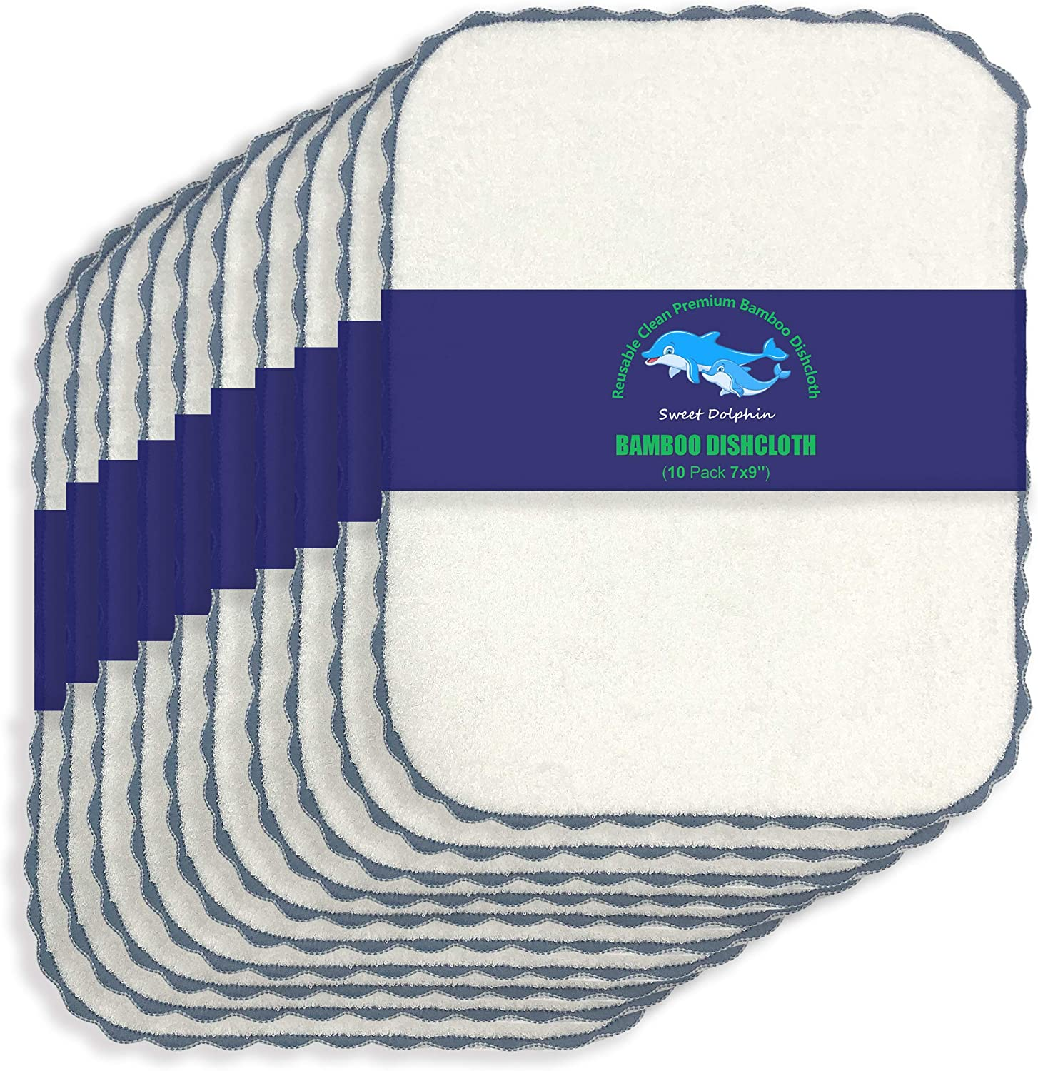 10 Pack Bamboo Kitchen Dishcloths - No Max 47% latest OFF Reusabl Eco-Friendly Odor