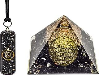 Pura Esprit Orgone Pendant Pyramid– Emf Protection Black Tourmaline Wound Healing Crystals Chakra Balancing Orgonite Necklace Pyramid for–Psychic Growth Meditation Entity Protection Vivid Dream