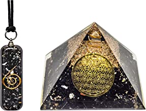 Pura Esprit Orgone Pendant Pyramid– Emf Protection Black Tourmaline Wound Healing Crystals Chakra Balancing Orgonite Necklace Pyramid for–Psychic Growth Meditation Entity Protection Vivid Dream