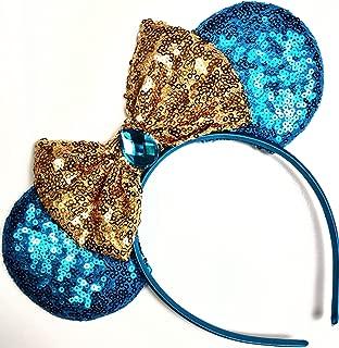 CLGIFT Jasmine Inspired Minnie Mouse Ears, Aladdin Inspired, Princess Jasmine,Rose Gold Mouse Ears, Aladdin Ears