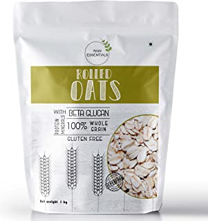 Raw Essentials Gluten-Free Rolled Oats, 1 kg [Breakfast Oats, Protein Rich, High Fibre]