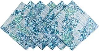 DII CAMZ10395 NP Outdoor Paisley S/6, Napkins, Blue Watercolor, 6 Piece