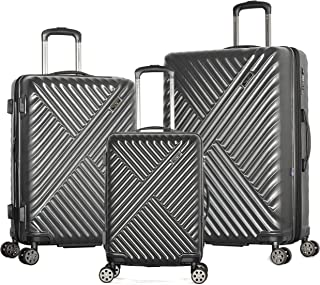 Olympia Matrix 3-Piece Pc Exp. Hardcase Spinner Set W/Hidden Compartment, GRAY