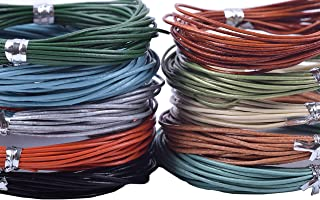 KONMAY 50 Yards Round Jewelry Leather Cord Mixed 10 Colors Each Color 5 Yards (1.0mm)
