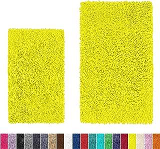 LuxUrux Bathroom Rug Set–Extra-Soft Plush Bath mat Shower Bathroom Rugs,1'' Chenille Microfiber Material, Super Absorbent (Rectangular Set, Neon Yellow)