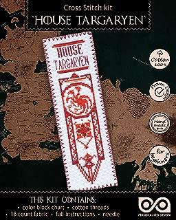 "Game of Thrones Cross Stitch Kit ""House Targaryen"" - DIY Hand Embroidery Bookmark with GoT Dragonstone Design Pattern"