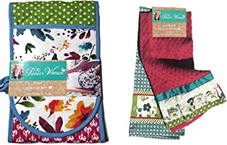 The Pioneer Woman Kitchen Towel 16 x 28 Kari Diamond 2 Pc Set With Matching 35 x 7.5 Willow Casserole Mitt