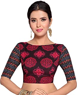 21248035c696ee STUDIO SHRINGAAR WOMEN'S SANGAANER PRINTED PURE COTTON STITCHED SAREE BLOUSE  WITH ELBOW LENGTH SLEEVES