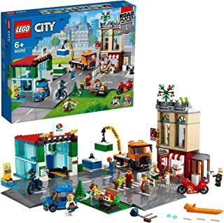 LEGO 60292 City Town Centre Building Set with Toy Motorbike, Bike, Truck, Road Plates and 8 Minifigures