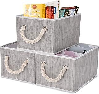 StorageWorks Storage Decorative Storage Bin with Cotton Rope Handles, Foldable Storage Basket, Taupe, Bamboo Style Medium ...